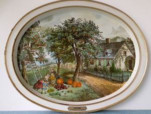 Currier and Ives Autumn Tray