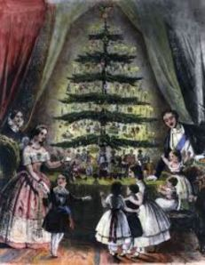 Queen Victoria and her family in front of a Christmas Tree