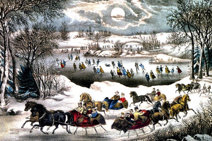 Currier & Ives Sleighing in NYC Park http://americancivilwarvoice.org